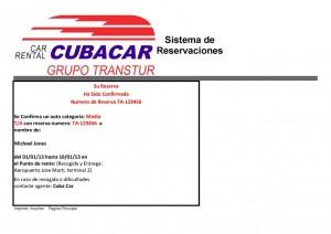 Cuba Car Voucher